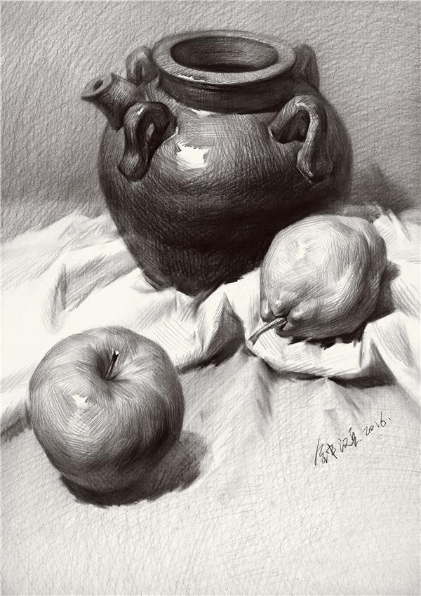 素描静物陶罐水果组合写生步骤