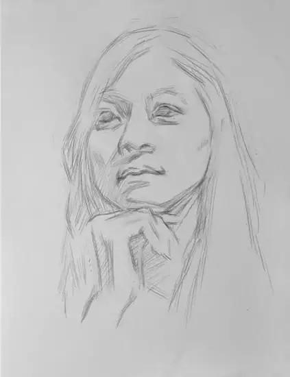 广州画室素描头像女青年临摹步骤