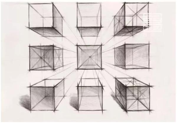色彩默写考试是美术高考的常客, 而构图则是一个重要的步骤 怎样的构图才能得到阅卷老师的青睐呢? 今天我们来谈谈色彩默写的构图要领 构图形式首选:三角形构图 三角形构图的表现力最强,最为稳定, 且具有一定的向心力和张力, 作为联考应试考生来说,是最稳妥的构图。  支撑三角形构图的三个关键点, 向外延伸,使画面的张力更强。  物体的摆放相对集中, 少量物体零散的作为点缀, 清晰的聚散对比产生强烈的向心力。  构图视角推荐两种保守派: 平行透视  平行透视:立方体有一个面与透明的画面平行,即与画面平行,立方体和